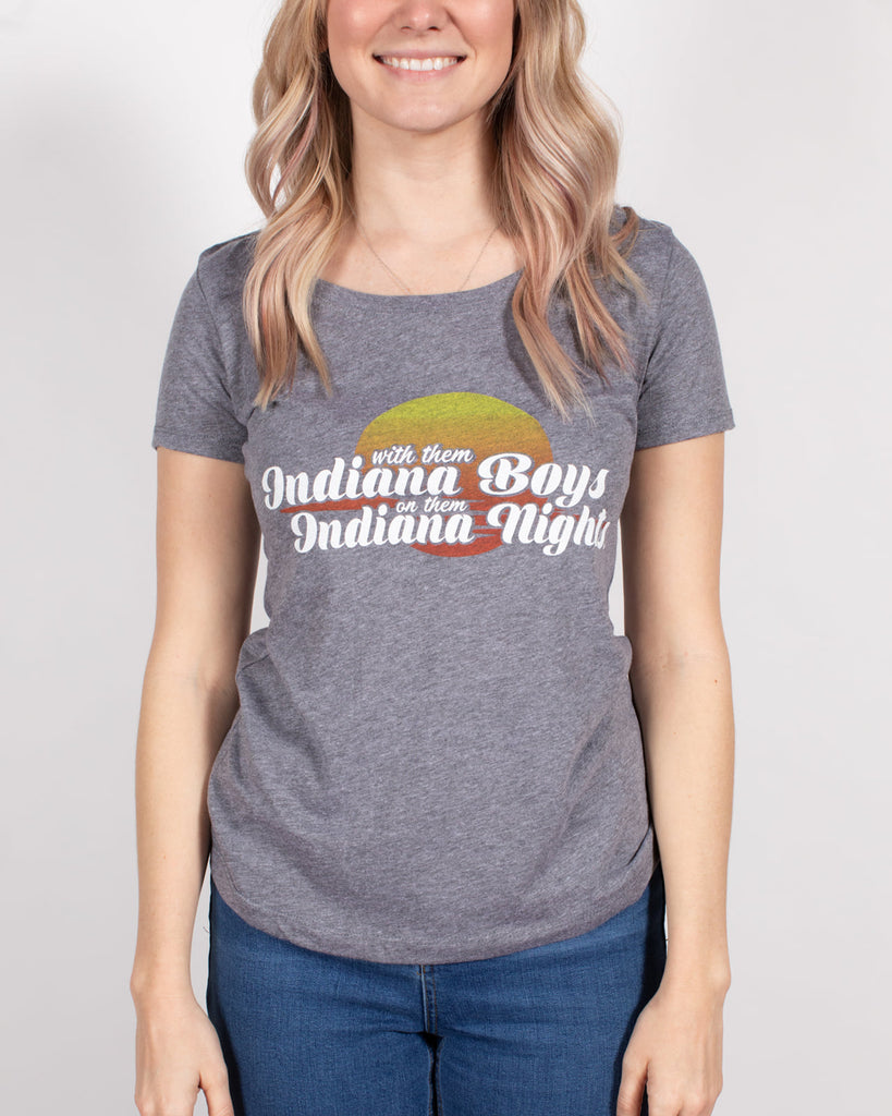 Indiana Boys, Indiana Nights Women's Scoopneck Tee ***CLEARANCE*** - United State of Indiana: Indiana-Made T-Shirts and Gifts