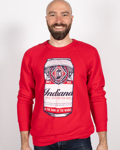 Beer Can Crewneck Sweatshirt ***CLEARANCE*** - United State of Indiana: Indiana-Made T-Shirts and Gifts