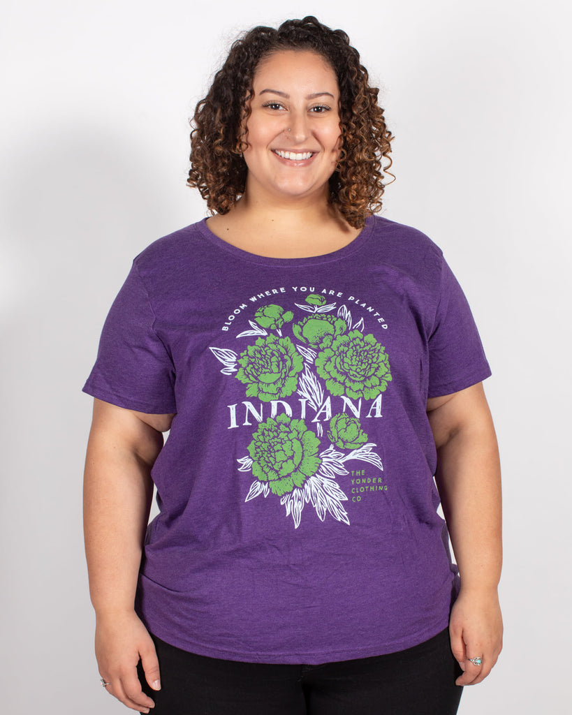 IN Bloom Women's Curvy Tee - United State of Indiana: Indiana-Made T-Shirts and Gifts