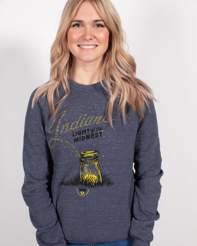 Light of the Midwest Crewneck Sweatshirt ***CLEARANCE*** - United State of Indiana: Indiana-Made T-Shirts and Gifts