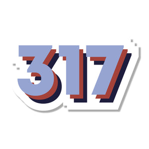317 Area Code Sticker