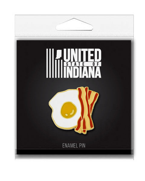 Bacon and Eggs Enamel Pin - United State of Indiana: Indiana-Made T-Shirts and Gifts