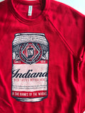 Beer Can Crewneck Sweatshirt - United State of Indiana: Indiana-Made T-Shirts and Gifts
