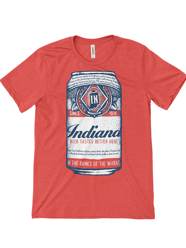 Beer Can Tee - United State of Indiana: Indiana-Made T-Shirts and Gifts