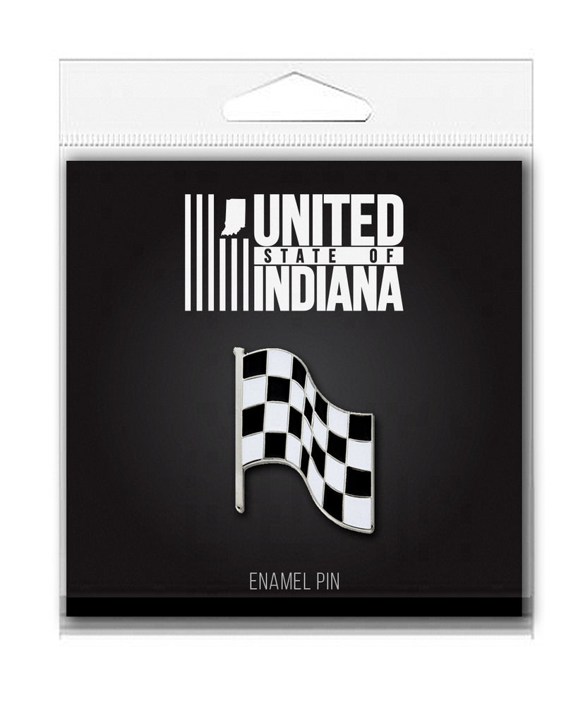 Checkered Flag Enamel Pin - United State of Indiana: Indiana-Made T-Shirts and Gifts