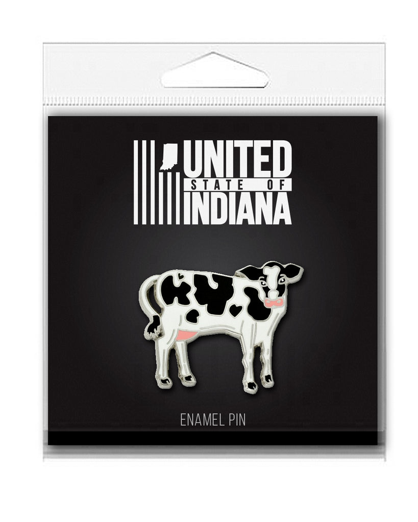 Cow Enamel Pin - United State of Indiana: Indiana-Made T-Shirts and Gifts
