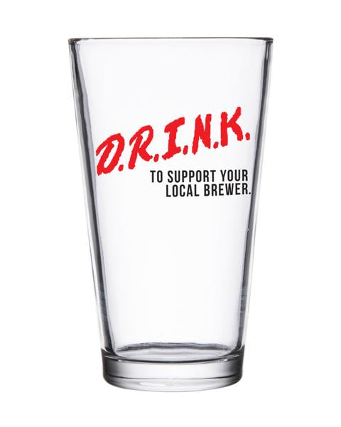 D.R.I.N.K. Pint Glass - United State of Indiana: Indiana-Made T-Shirts and Gifts