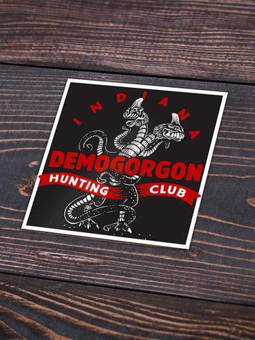 Demogorgon Hunting Club Sticker - United State of Indiana: Indiana-Made T-Shirts and Gifts