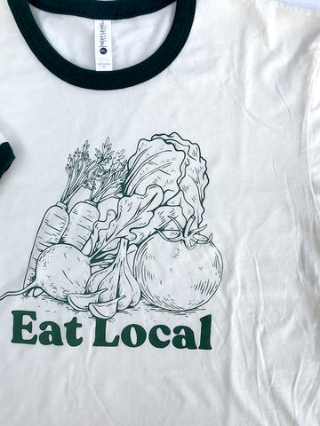 Eat Local Garden Ringer Tee - United State of Indiana: Indiana-Made T-Shirts and Gifts