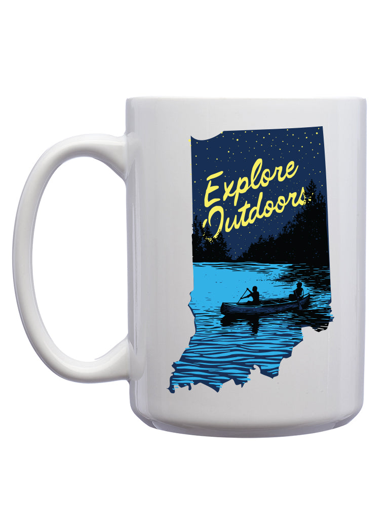 Explore Outdoors Mug - United State of Indiana: Indiana-Made T-Shirts and Gifts