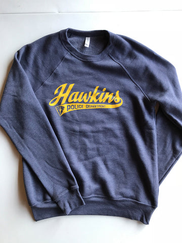 Hawkins Police Department Crewneck Sweatshirt ***CLEARANCE*** - United State of Indiana: Indiana-Made T-Shirts and Gifts