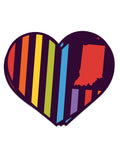 Rainbow Heart Flag Sticker - United State of Indiana: Indiana-Made T-Shirts and Gifts