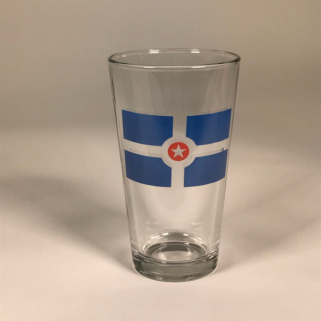 Indianapolis Flag Pint Glass - United State of Indiana: Indiana-Made T-Shirts and Gifts