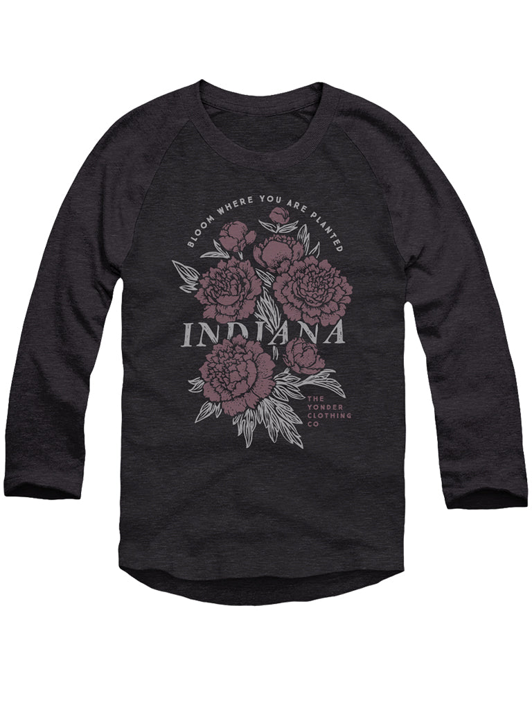 IN Bloom Baseball Tee - United State of Indiana: Indiana-Made T-Shirts and Gifts