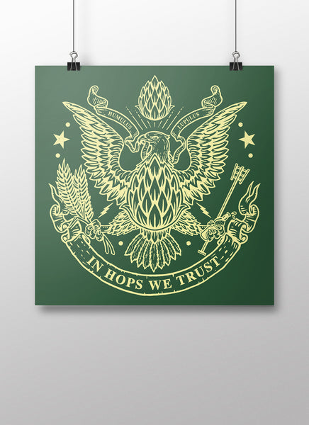 In Hops We Trust Poster - United State of Indiana: Indiana-Made T-Shirts and Gifts