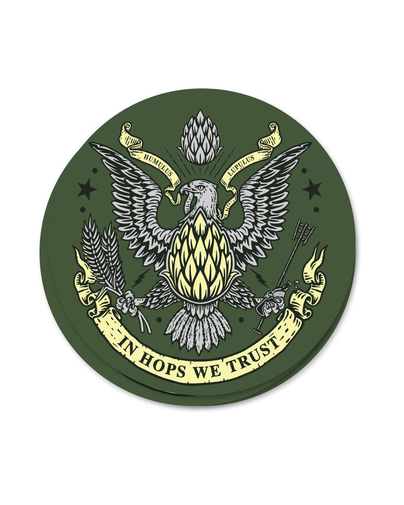 In Hops We Trust Sticker - United State of Indiana: Indiana-Made T-Shirts and Gifts