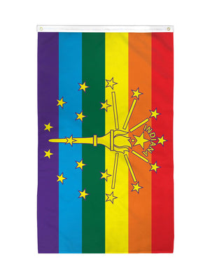 Rainbow Indiana State Flag (3x5ft)