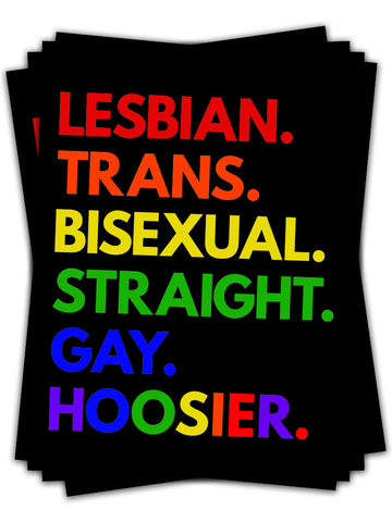 LGBT Hoosier Sticker - United State of Indiana: Indiana-Made T-Shirts and Gifts