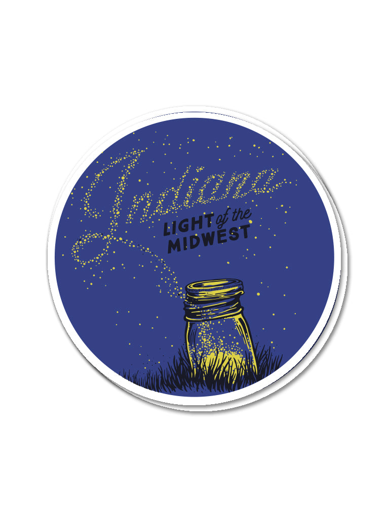 Light of the Midwest Sticker - United State of Indiana: Indiana-Made T-Shirts and Gifts