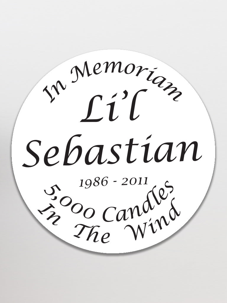 Lil' Sebastian Memorial Sticker - United State of Indiana: Indiana-Made T-Shirts and Gifts