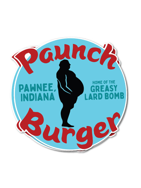 Paunch Burger Sticker - United State of Indiana: Indiana-Made T-Shirts and Gifts