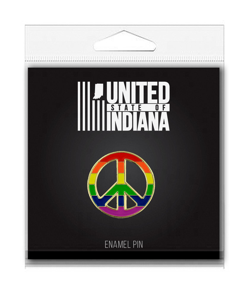 Rainbow Peace Sign Enamel Pin