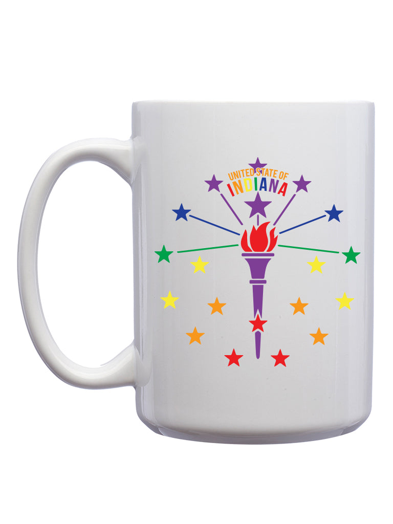 Rainbow Torch and Stars Mug