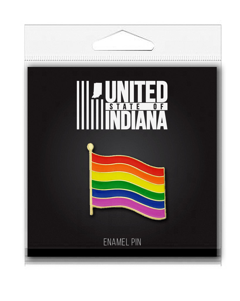 Rainbow Flag Enamel Pin - United State of Indiana: Indiana-Made T-Shirts and Gifts