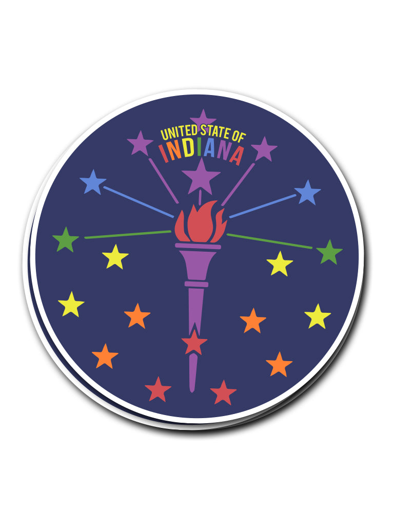 Torch and Stars PRIDE Sticker - United State of Indiana: Indiana-Made T-Shirts and Gifts