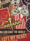 Random Sticker 10-Pack - United State of Indiana: Indiana-Made T-Shirts and Gifts