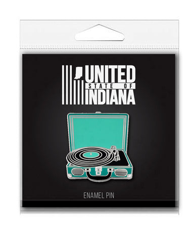 Record Player Enamel Pin - United State of Indiana: Indiana-Made T-Shirts and Gifts