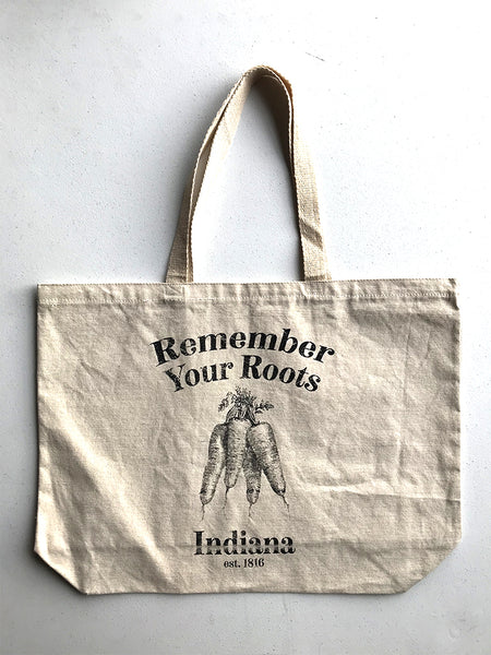 Remember Your Roots Tote Bag - United State of Indiana: Indiana-Made T-Shirts and Gifts