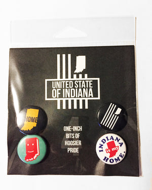 USI Button 4-Pack - United State of Indiana: Indiana-Made T-Shirts and Gifts