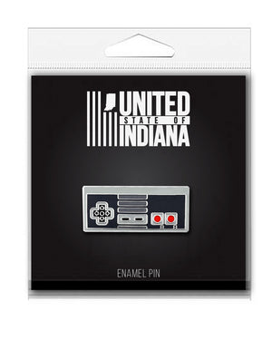 Retro Controller Enamel Pin - United State of Indiana: Indiana-Made T-Shirts and Gifts