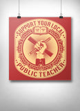 Support Your Local Teacher Poster - United State of Indiana: Indiana-Made T-Shirts and Gifts