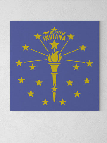 "Torch and Stars Canvas - Navy / 12 x 12"" from United State of Indiana  - 1"