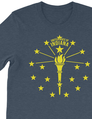 Torch and Stars Unisex Tee - United State of Indiana: Indiana-Made T-Shirts and Gifts