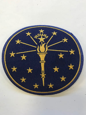 Torch and Stars Iron-On Patch - United State of Indiana: Indiana-Made T-Shirts and Gifts