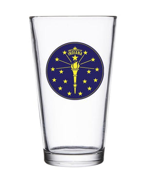 Torch and Stars Badge Pint Glass - United State of Indiana: Indiana-Made T-Shirts and Gifts