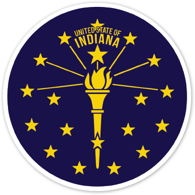 Torch and Stars Sticker - United State of Indiana: Indiana-Made T-Shirts and Gifts