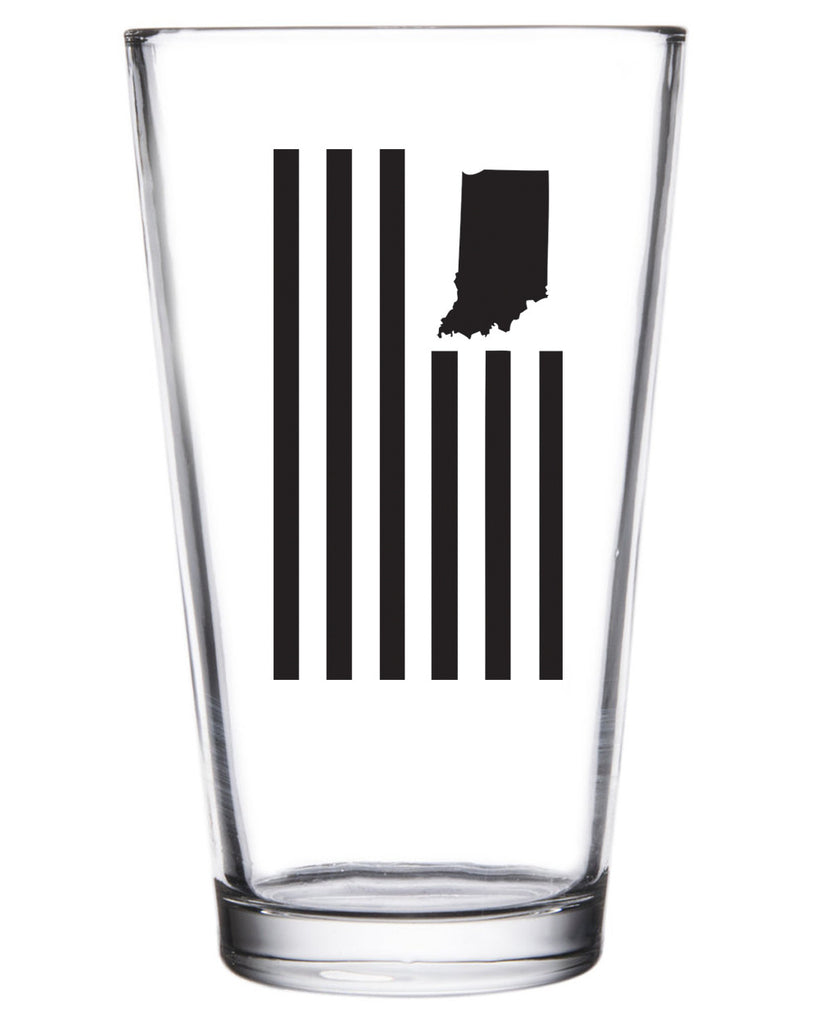 USI Flag Pint Glass - United State of Indiana: Indiana-Made T-Shirts and Gifts