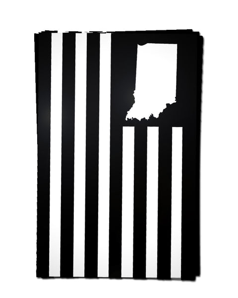 USI Flag Sticker - Black - United State of Indiana: Indiana-Made T-Shirts and Gifts