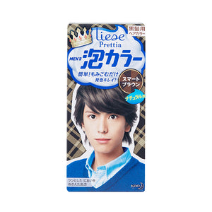 KAO PRETTIA MENS BUBBLE BLEACH HAIR COLOR SMART BROWN