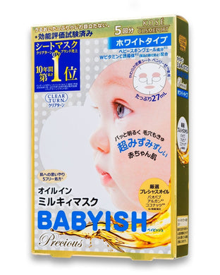 Kose Clear Turn Babyish Precious Oil in Milky Face Mask Whitening 5 Sheets