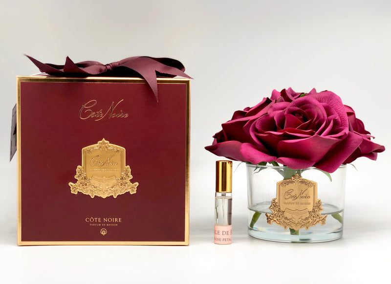 Côte Noire Perfumed Natural Touch 5 Roses - Clear - Carmine Red - Burgundy Box - GMR90