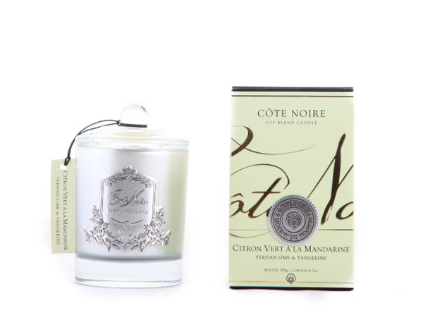 Côte Noire 185g Soy Blend Candle - Persian Lime & Tangerine - Silver - GMS18522
