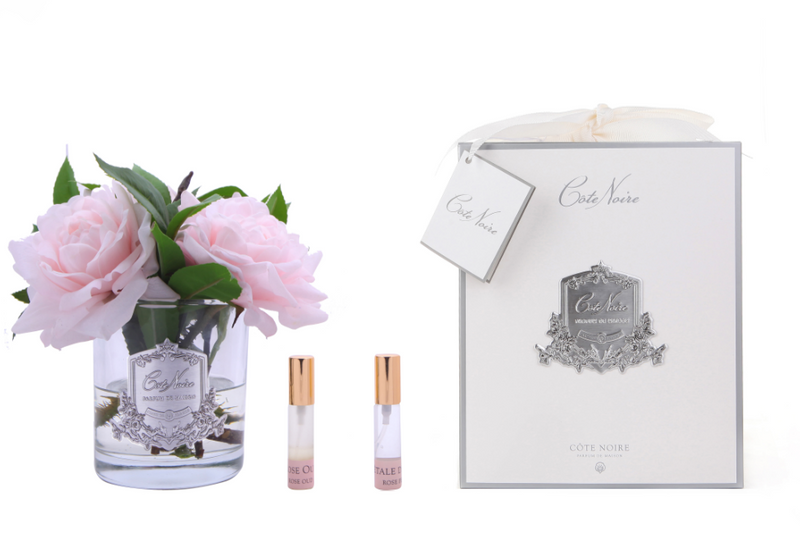 Côte Noire Perfumed Pink English Rose - Clear Glass - SFR03