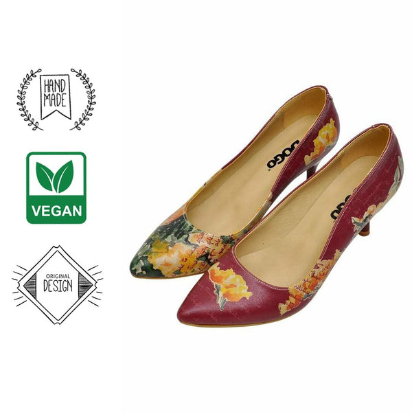 Yellow Flower Dogo Women's Heel Shoes