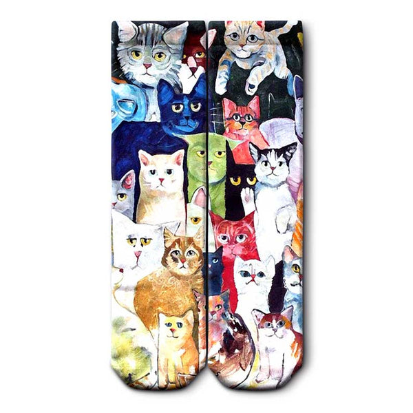 Colorful Cats Crew Socks