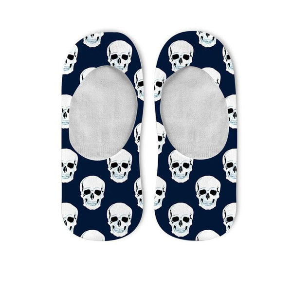 Navy Blue Skull No Show Socks